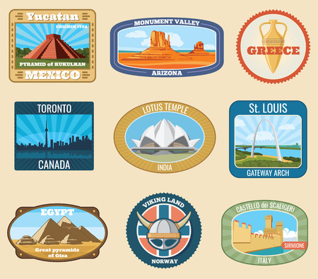 World famous international landmarks vector vintage travel stickers