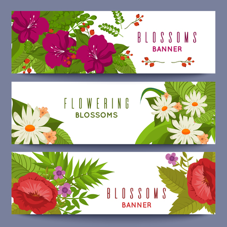 Floral banners template with colorful flowers 向量圖像