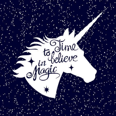 Inspiring unicorn silhouette head on falling snow background