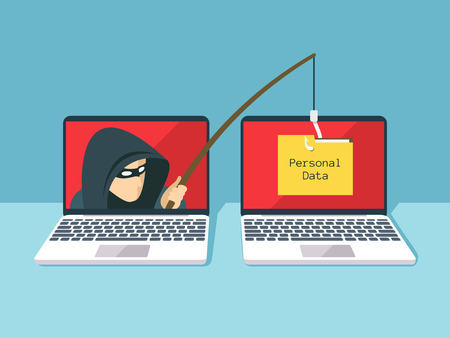 Phishing scam, hacker attack and web security vector concept