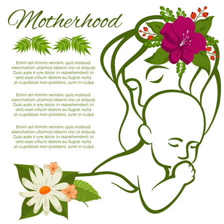 Mom and baby line silhouette and flowers motherhood poster design Çizim