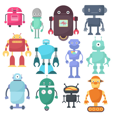 Cute robots, cyborg machine vector science characters