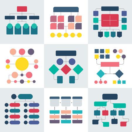 Schémas d?organigrammes et diagrammes hiérarchiques. Éléments vectoriels de graphique de flux de travail Vecteurs