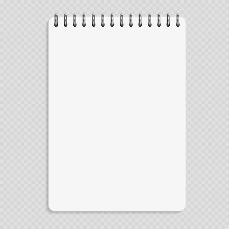 Vertical notebook - clean notepad mockup isolated on transparent background Vectores