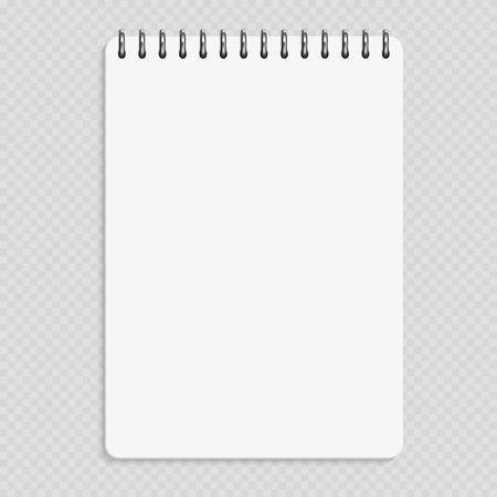 Verticale notebook - schone kladblok mockup geïsoleerd op transparante achtergrond