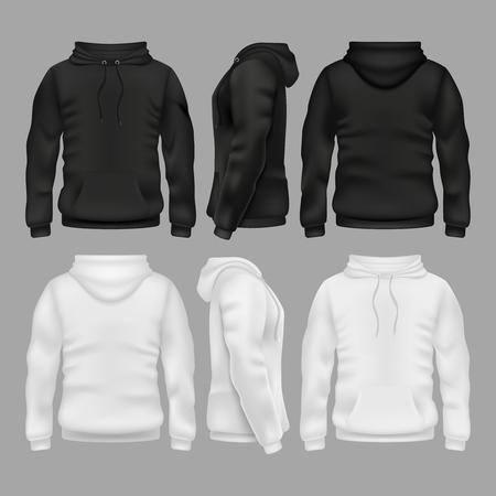 Zwart-wit leeg sweatshirt hoodie vector sjablonen
