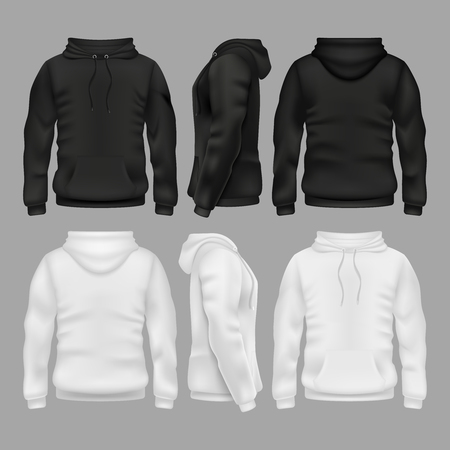 Black and white blank sweatshirt hoodie vector templates