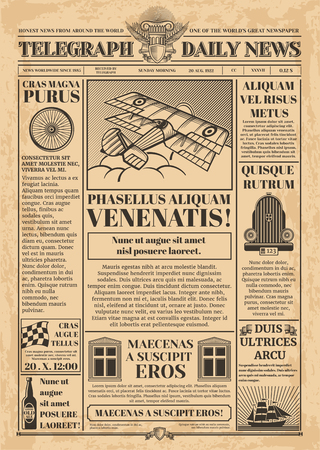 Old newspaper vector template. Retro newsprint with text and images
