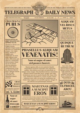 Stary szablon wektor gazety. Retro papier gazetowy z tekstem i obrazami