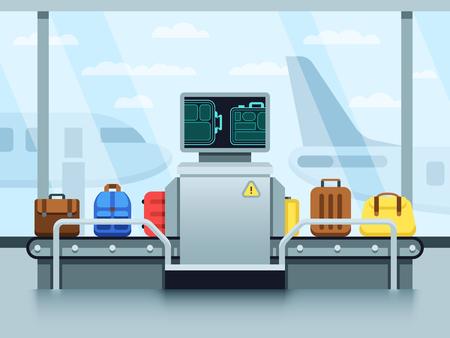 Cinta transportadora del aeropuerto con equipaje de pasajeros y escáner policial. Concepto de vector de punto de control terminal