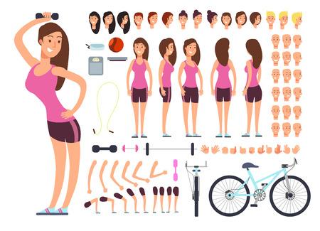Jonge fitness vrouw, sportvrouw. Vector creatie constuctor met grote set vrouw lichaamsdelen en sportartikelen Stock Illustratie