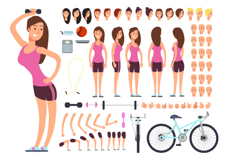 Young fitness female, sportswoman. Vector creation constuctor with big set of woman body parts and sport equipment