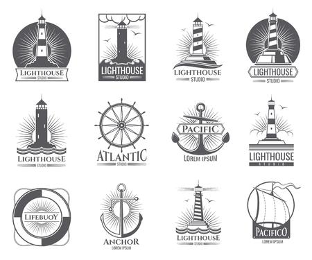 ライトハウス、海のボートとアンカーが付いているヴィンテージ航海ラベル。 写真素材 - 91995121