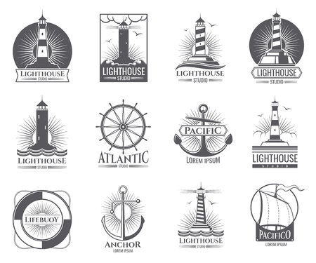 Vintage nautical labels with light house, sea boat and anchors.