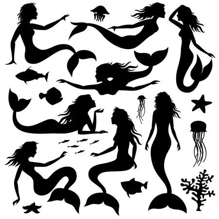 Swimming underwater mermaid black vector silhouettes