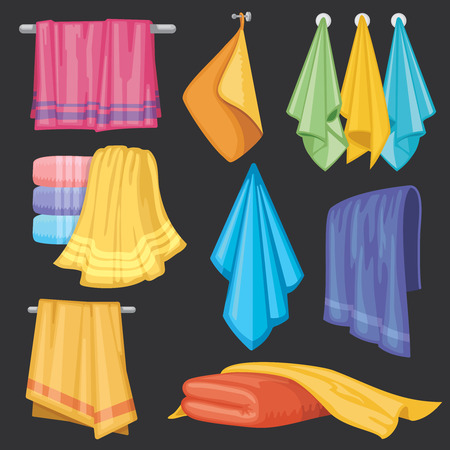 Kitchen and bath hanging and folding towels isolated vector set Stock Photo