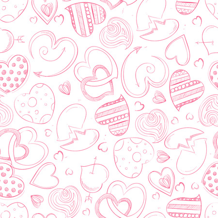 Ballpoint pen drawing hearts seamless pattern
