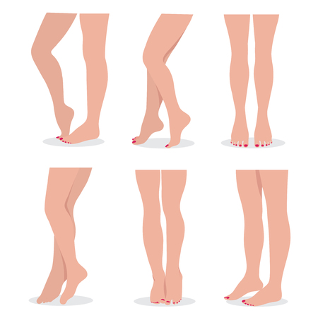 Beautiful elegant woman legs and feet in different poses isolated vector set Illustration
