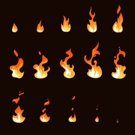 Cartoon fire flame sheet sprite animation vector set Vectores