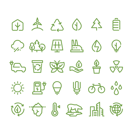 Eco and green environment vector line icons. Ecology and recycling outline symbols Vectores