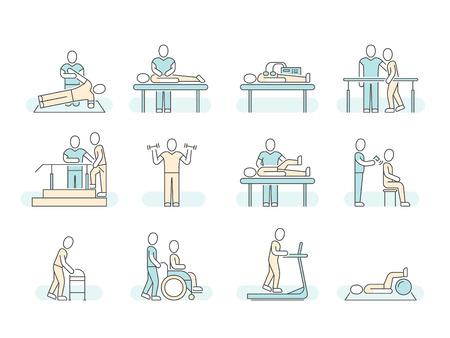 Icone mediche di linea di vettore di fisioterapia spa terapia di massaggio. Simboli terapeutici Vettoriali