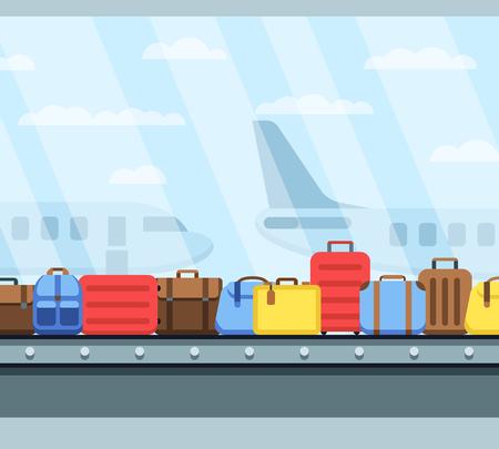 La banda transportadora del aeropuerto con el equipaje del pasajero empaqueta la ilustración del vector