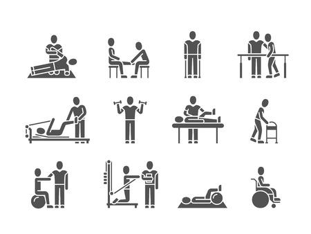 Fizjoterapia medyczna i ludzie rehabilitacja leczenie czarna sylwetka wektor ikony