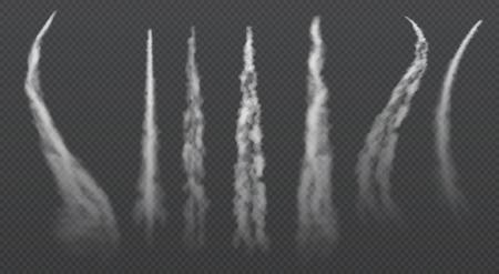 Senderos de condensación del avión. Jet conjunto de vector aislado de humo final Ilustración de vector