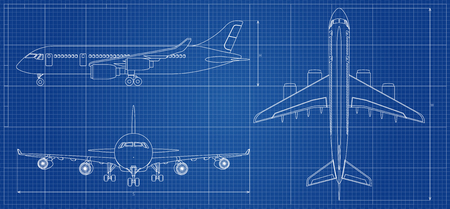 Airplane blueprint. Outline aircraft on blue background. Vector illustration Vettoriali