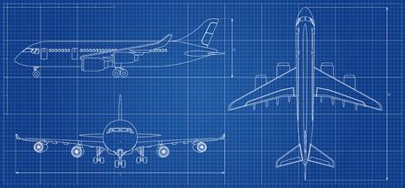 Progetto dell'aeroplano. Aeromobili di contorno su sfondo blu. Illustrazione vettoriale Archivio Fotografico - 90522219