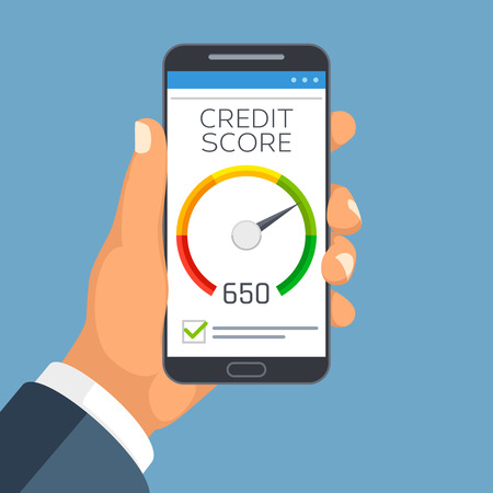 Credit score business report on smartphone screen. Credit rating meter app vector concept