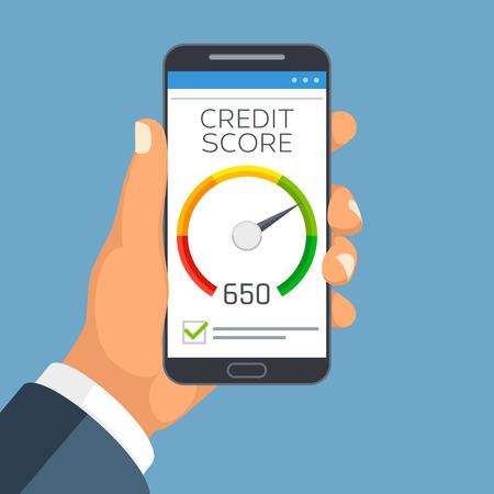 Credit score bedrijfsrapport op smartphone scherm. Credit rating meter app vector concept