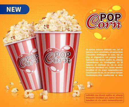 Klassische Popcorn Film Kino Snacks Vektor Werbung Hintergrund Standard-Bild - 90526471
