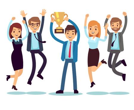 Manager mit gewinnendem Trophäenpokal und springenden Angestellten. Flaches Konzept des Erfolgsgeschäftsteam-Vektors Vektorgrafik