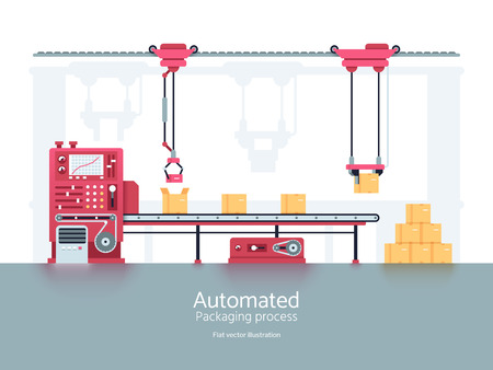 Industrial packaging machine with conveyor production line vector illustration
