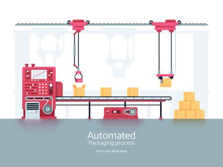 Machine d'emballage industrielle avec illustration vectorielle de convoyeur ligne de production