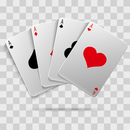 Casino gambling poker blackjack - playing cards isolated on transparent background