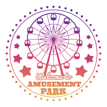 Amusement park welcome emblem logo isolated on white
