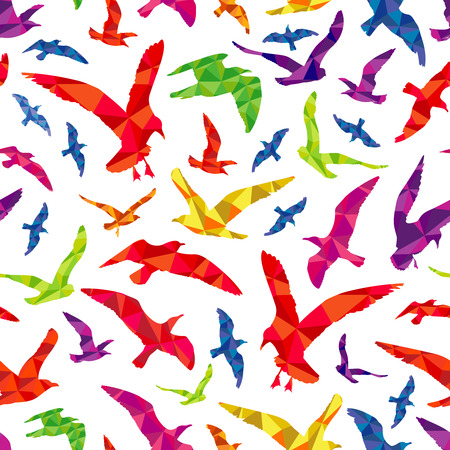 Colorful polygonal birds seamless pattern
