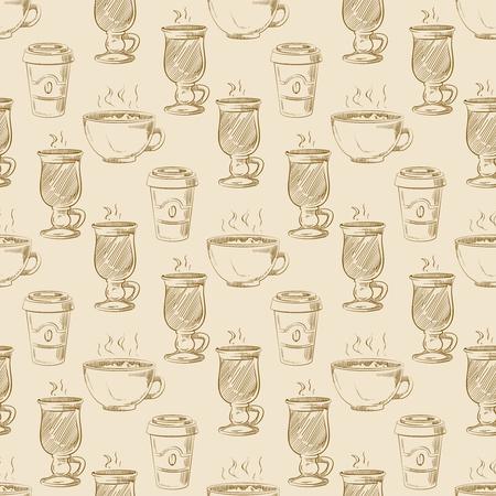 Hand drawn americano take away coffee seamless pattern