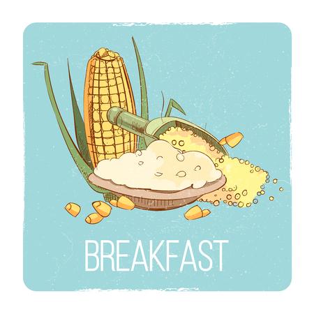 Corn porridge breakfast card - gluten free breafast concept