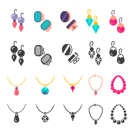 Earrings, eardrops and necklace icons Illustration