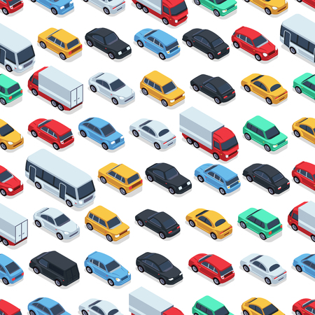 Urban cars seamless texture. Vector background. Isometric cars Vettoriali