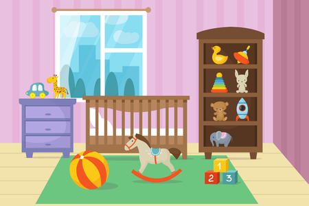 Cartoon childrens room interior with kid toys vector illustration