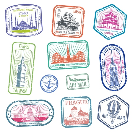 Vintage travel stamps with major monuments and landmarks vector set Vettoriali