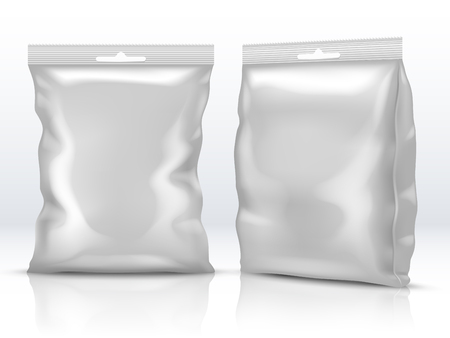 Blank white food paper or foil packaging isolated 3d vector illustration