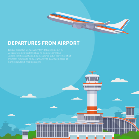 Airplane takeoff on runway in international airport. Tourism and air travel vector concept