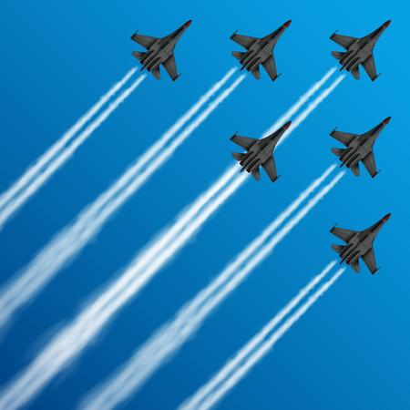 Aviones de combate militares con senderos de condensación en la ilustración de vector de cielo