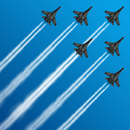 Military fighter jets with condensation trails in sky vector illustration
