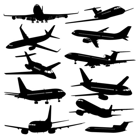 Flight aviation vector icons. Airplane black silhouettes